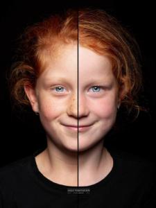 Twee halve gezichten in een foto | Duo portret